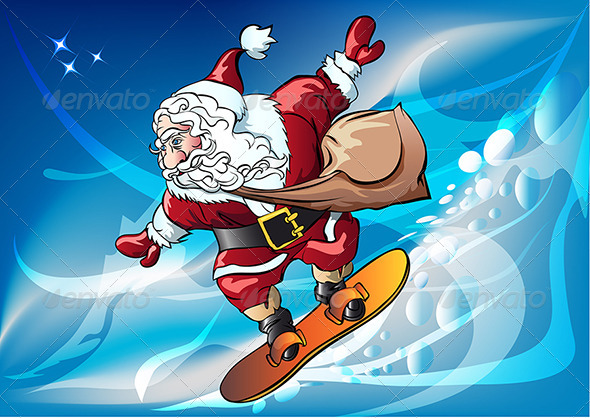 Santa Claus on the Snowboard - Christmas Seasons/Holidays