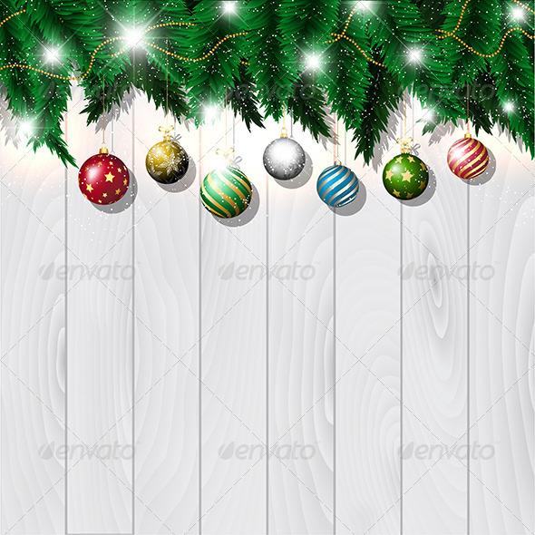 Christmas Baubles on Wood - Christmas Seasons/Holidays
