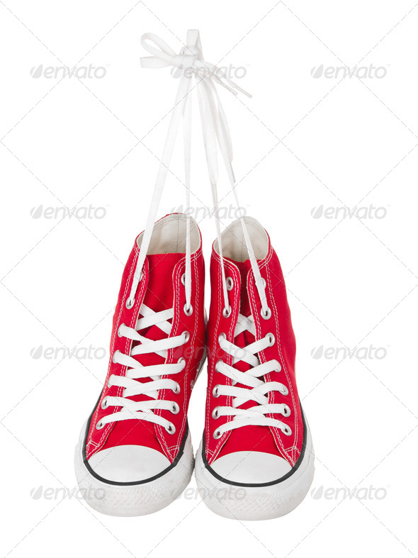 Hanging red sneakers front view - Stock Photo - Images