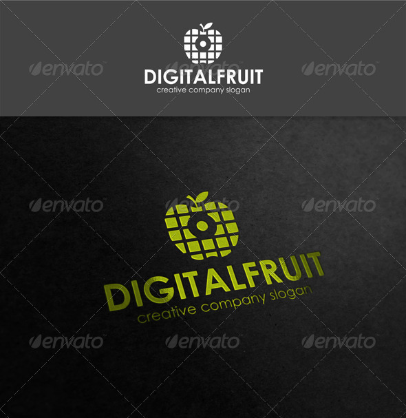 Digital Fruit Logo Template