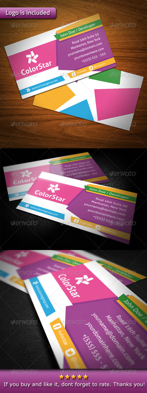 Color Star Creative Business Card by BossTwinsMusic | GraphicRiver