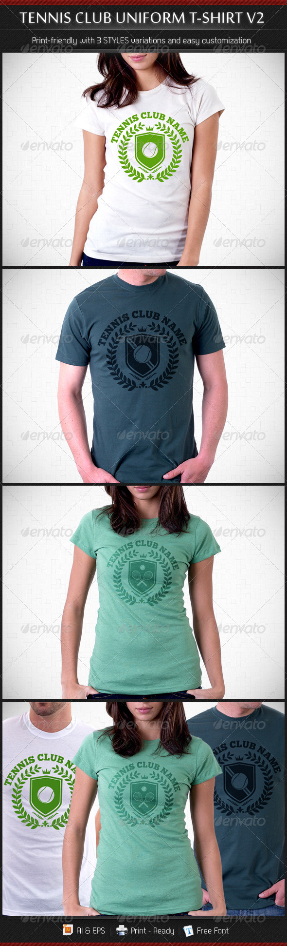 Tennis Club Uniform T-Shirt Template V2 - Sports & Teams T-Shirts