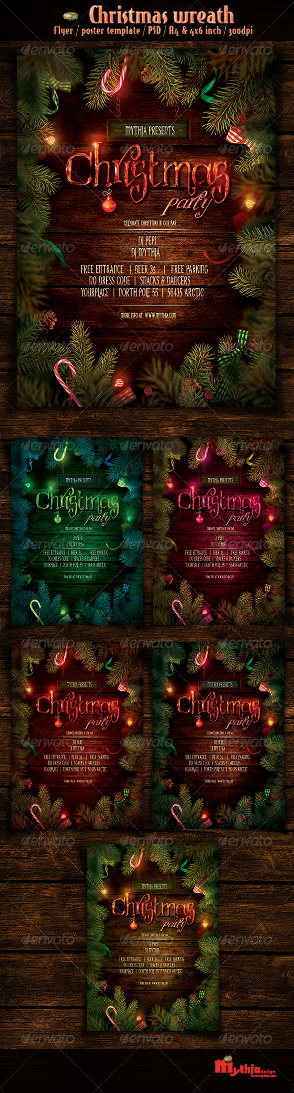 Christmas Wreath - Event Flyer/Poster Template - Holidays Events