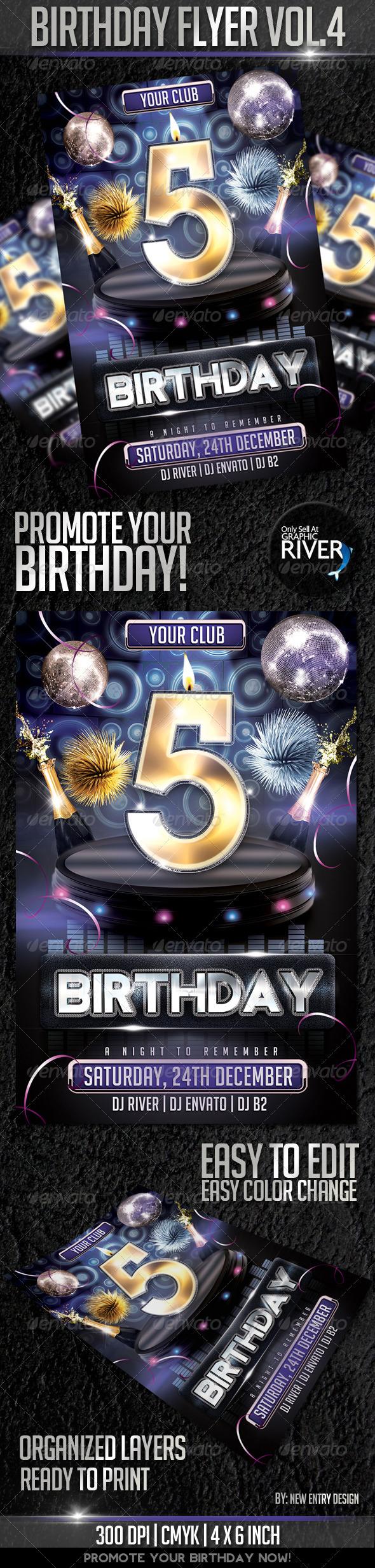 Birthday Flyer Template Vol4 - Flyers Print Templates