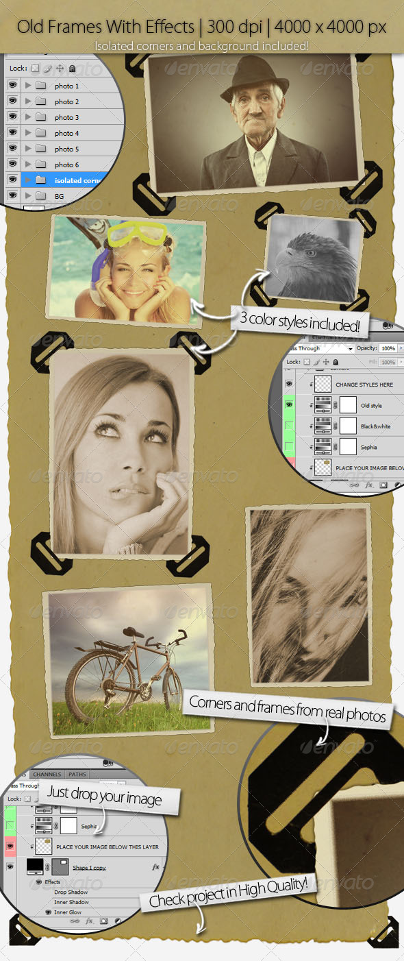 Old Image Frames With Corners - Artistic Photo Templates