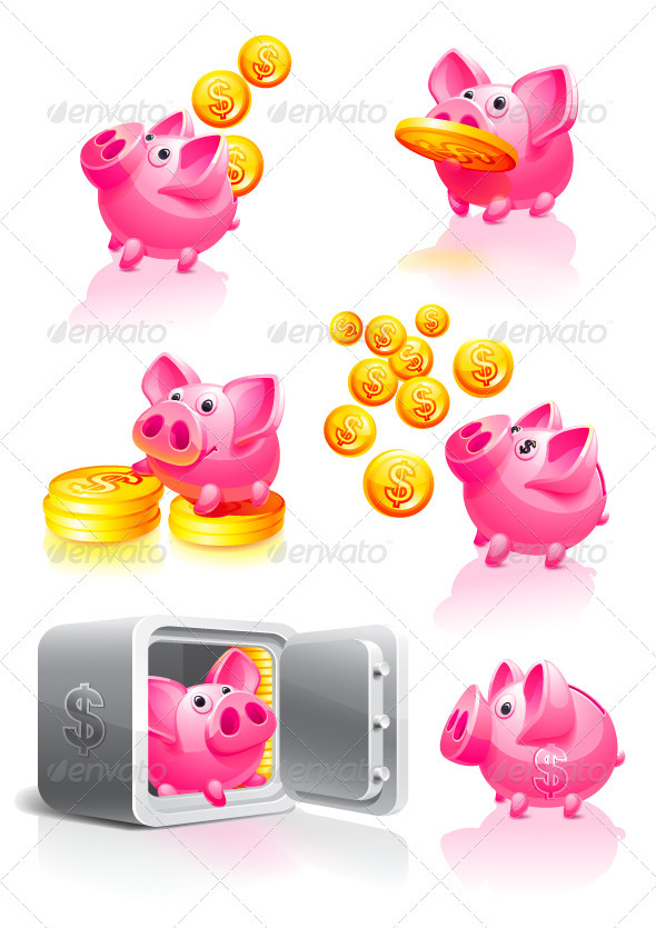 Pink Piggy Bank with Coins - Business Conceptual