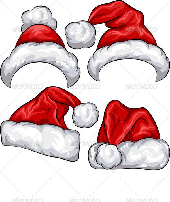 Vector set Red Christmas Santa Claus hats - Christmas Seasons/Holidays