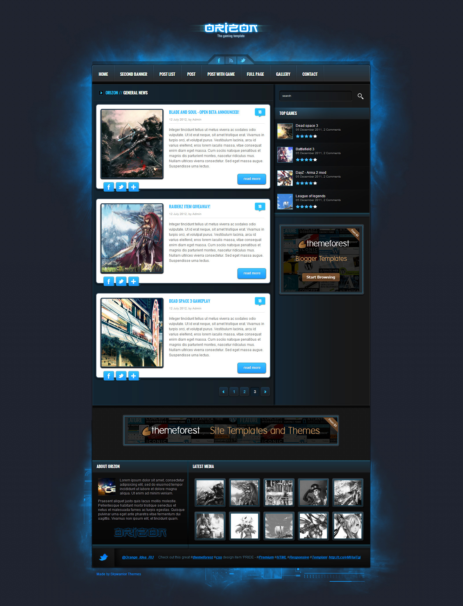 orizon the gaming template html version by skywarrior themeforest