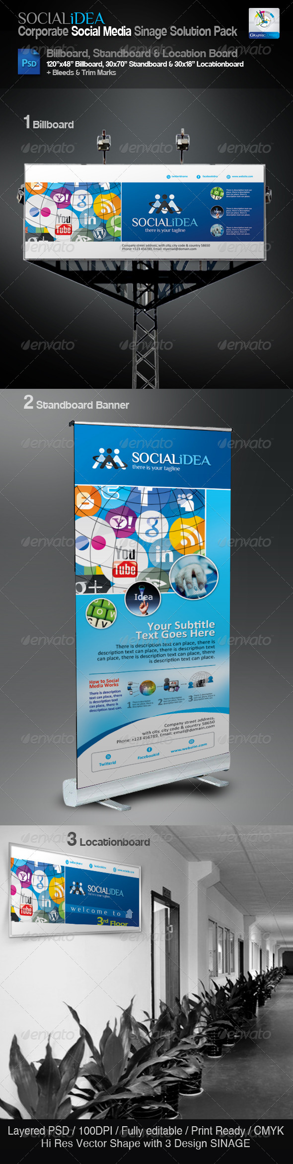 Socialidea Corporate Sinage Solution Pack - Signage Print Templates
