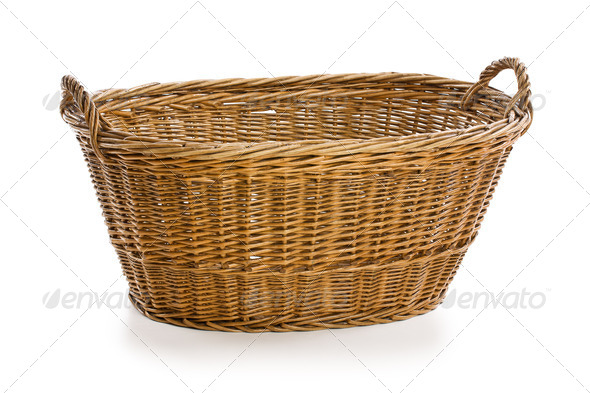 empty wicker basket - Stock Photo - Images