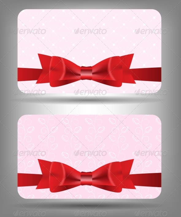 Card with Bow and Ribbon. Vector Illustration - Christmas Seasons/Holidays