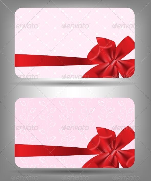 Card with Bow and Ribbon - Christmas Seasons/Holidays