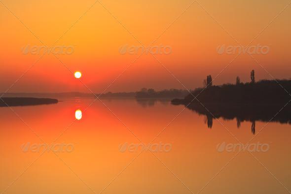 sunrise lake - Stock Photo - Images