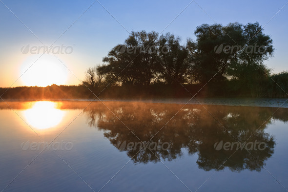 sunrise in the Danube Delta - Stock Photo - Images