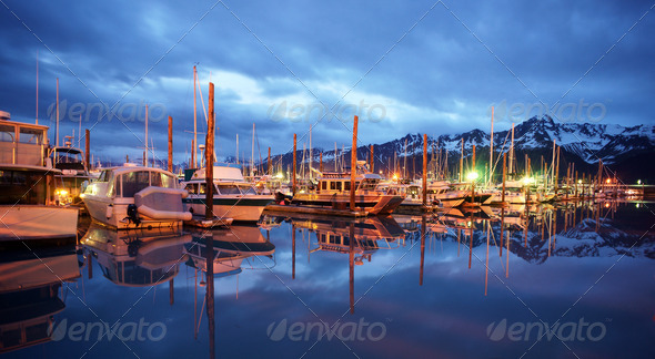 Seward Marina Alaska Waterfront Moored Boats Nautical Night - Stock Photo - Images