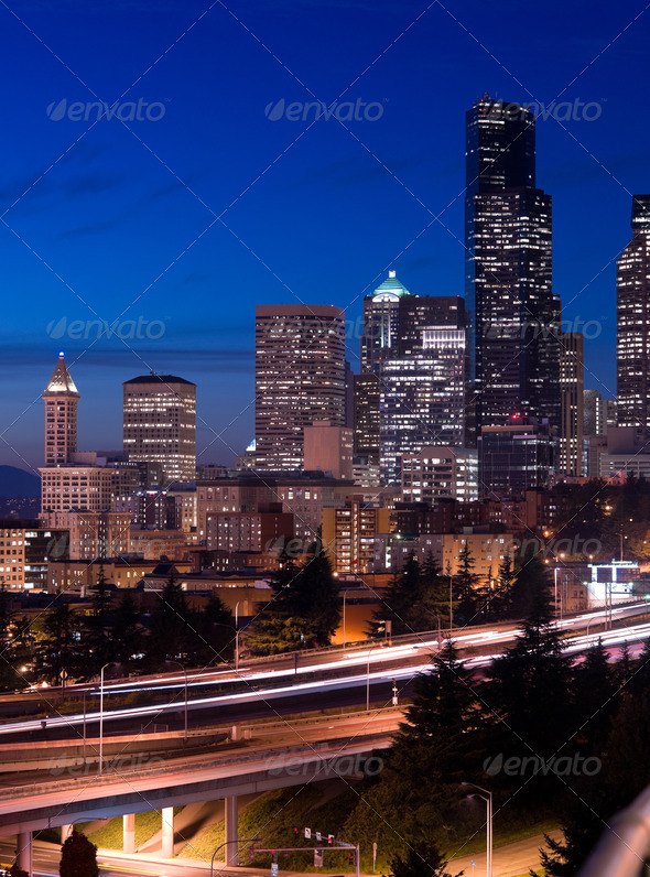 Seattle WA Skyline - Stock Photo - Images