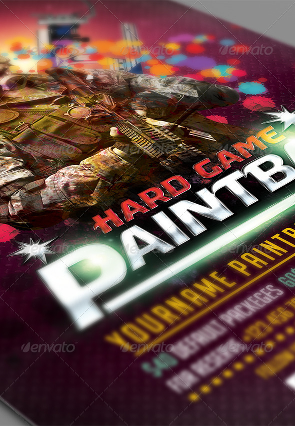 paintball flyer  poster template by deerking