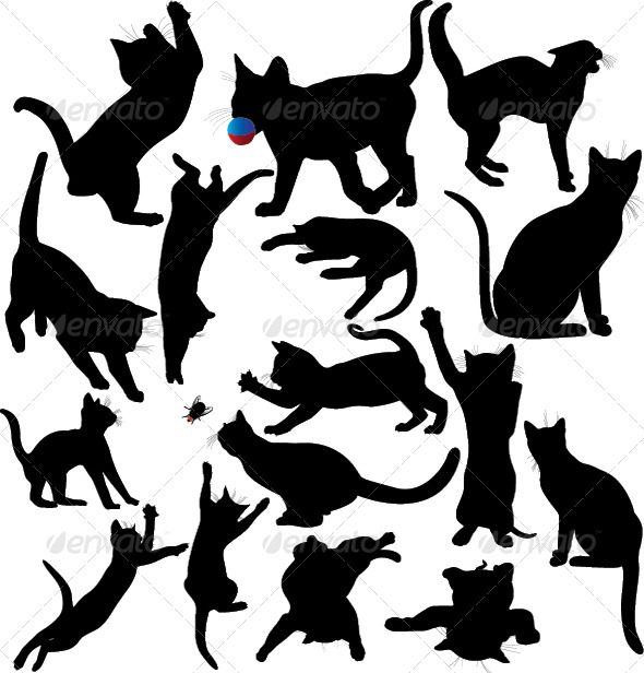 Cat and Kitten Silhouette Set - Animals Characters