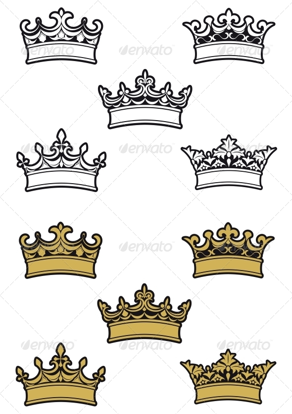Heraldic Crowns and Diadems - Decorative Symbols Decorative