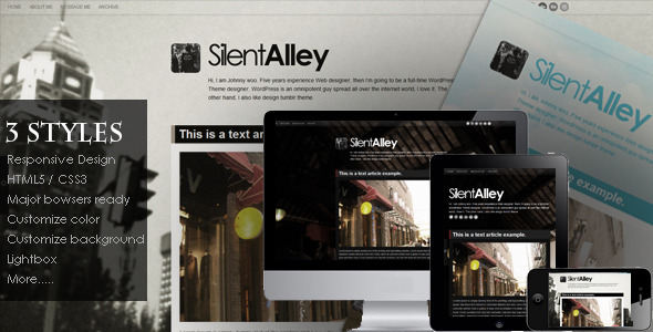 Silent Alley - Responsive Multi-Color Tumblr Theme