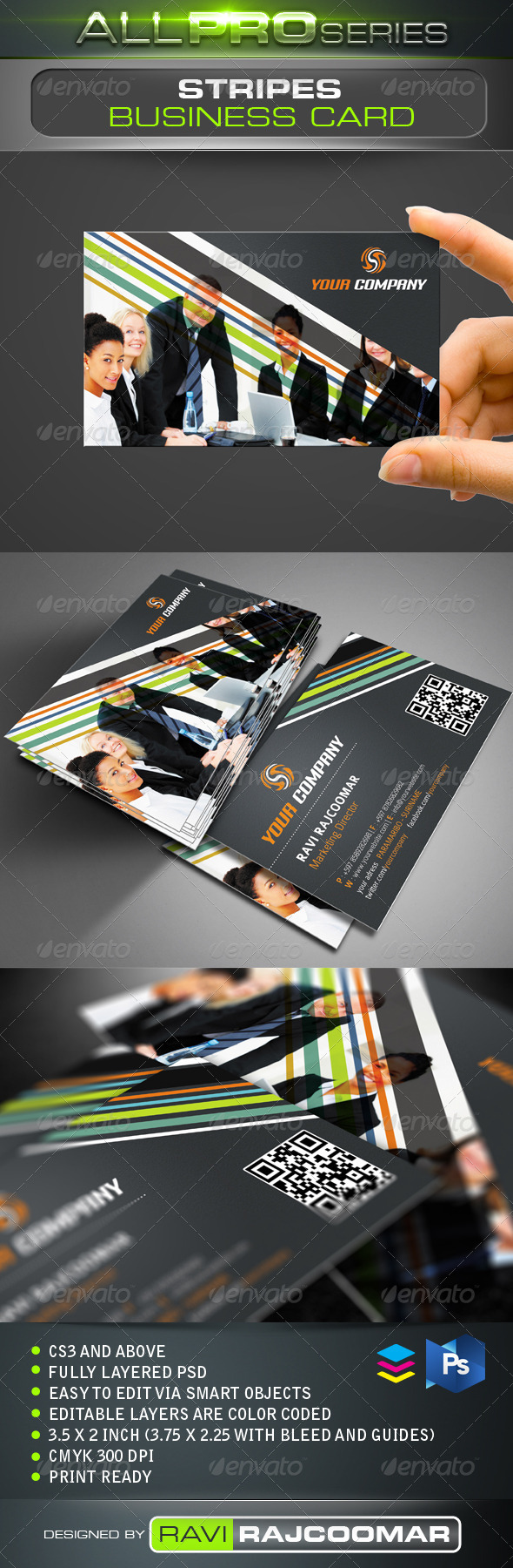 Stripes Business Card - Corporate Business Cards
