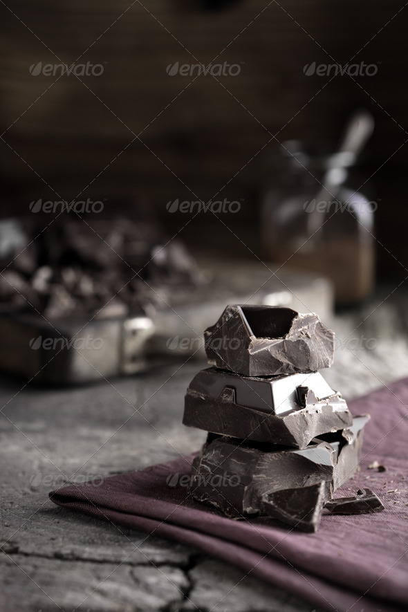 Stack of dark chocolate - Stock Photo - Images