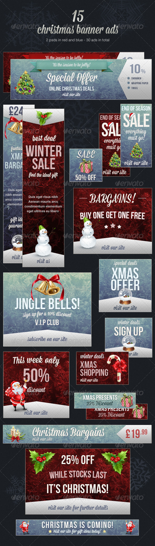 Christmas Web Banner Ads - Banners & Ads Web Elements