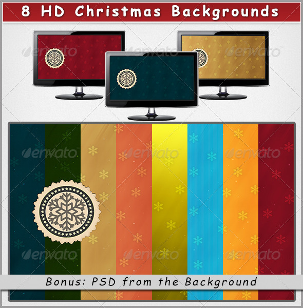 8 HD Christmas Backgrounds on Different Colors - Abstract Backgrounds