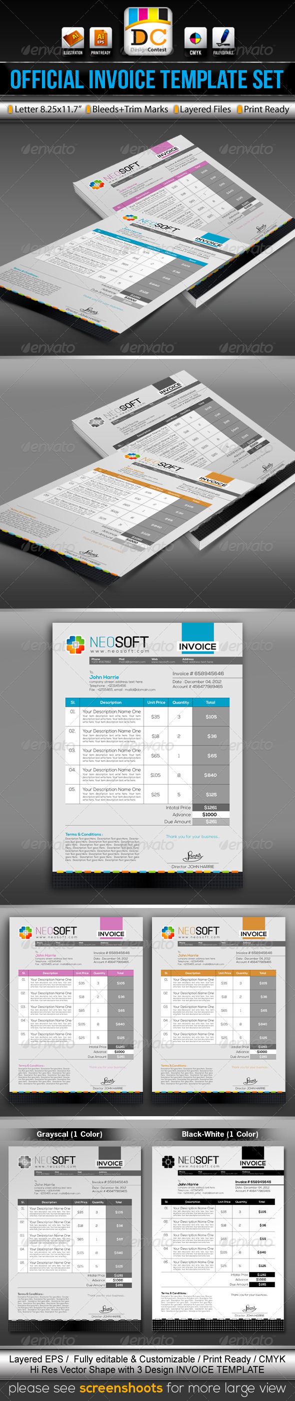 NeoSoft_Official Invoice/Cash Memo Template Set   Proposals U0026 Invoices  Stationery