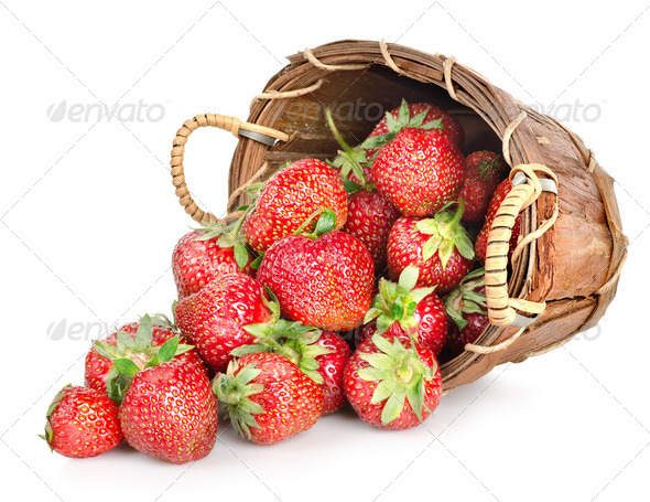 Strawberries and basket - Stock Photo - Images