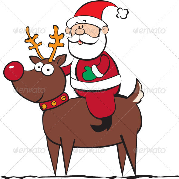 Santa Riding a Reindeer - Christmas Seasons/Holidays