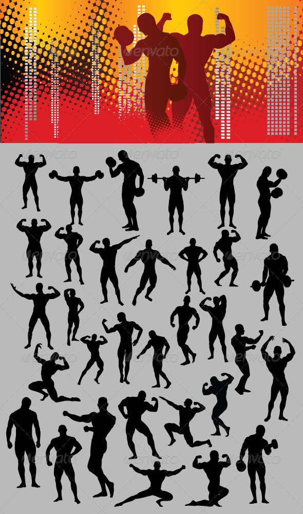 Bodybuilder Silhouette - Sports/Activity Conceptual