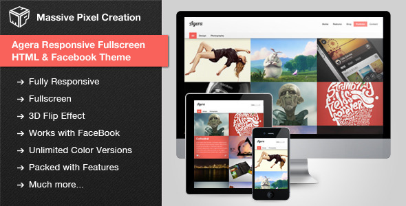 Agera Responsive Fullscreen HTML / Facebook Theme - Creative Site Templates