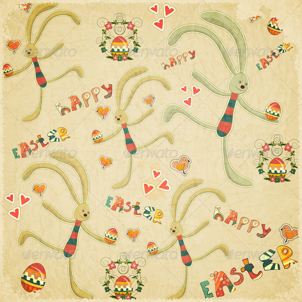 Retro Easter Background with Bunny - Miscellaneous Seasons/Holidays