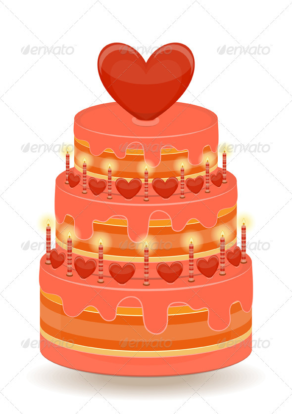 Valentines Cake on White Background - Food Objects
