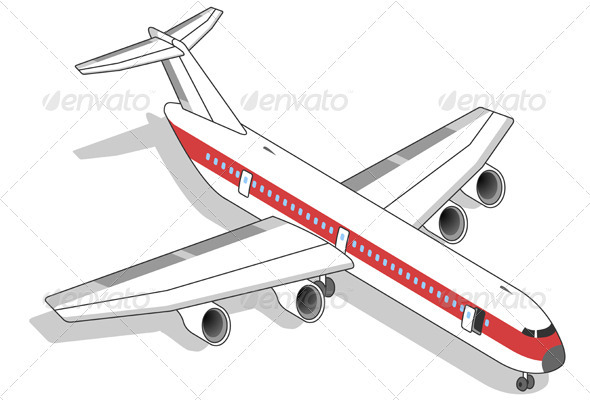 Isometric White Airplane with Red Stripe - Travel Conceptual