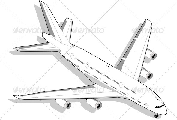 Isometric White Airplane - Travel Conceptual