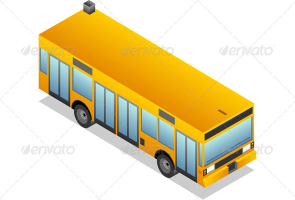 Isometric Yellow Bus - Miscellaneous Vectors
