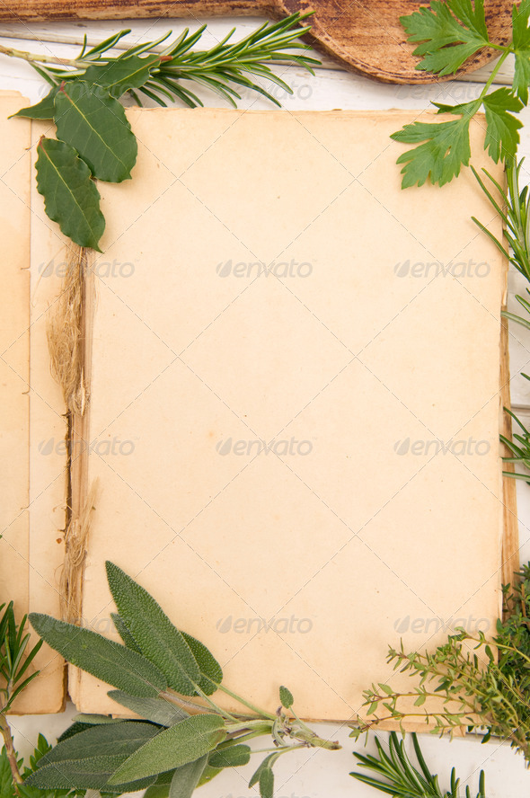 Fresh herbs background - Stock Photo - Images