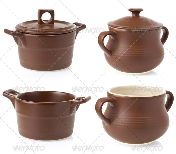 ceramic pot isolated on white - Stock Photo - Images