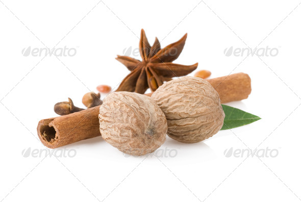 cinnamon, anise star and nutmeg - Stock Photo - Images
