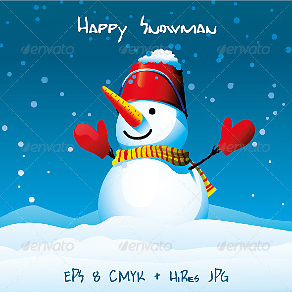 Happy Snowman - Christmas Seasons/Holidays