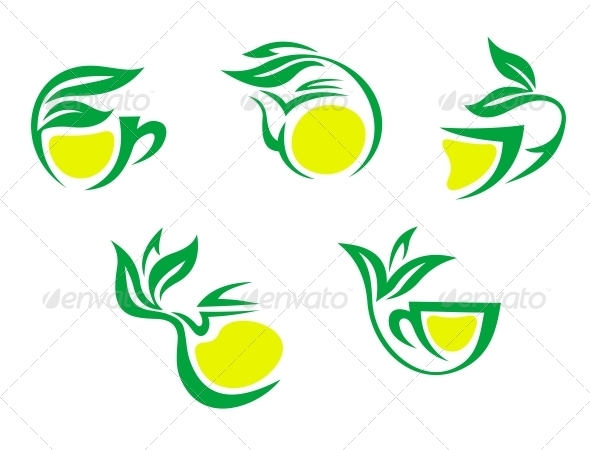 Tea Cups Symbols with Lemon and Green Leaves - Food Objects
