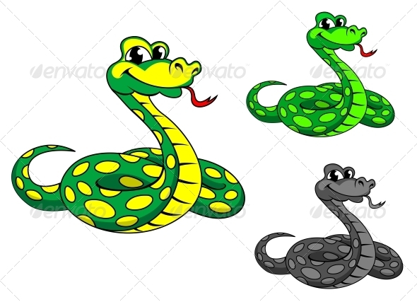 Funny Cartoon Python Snake - Animals Characters