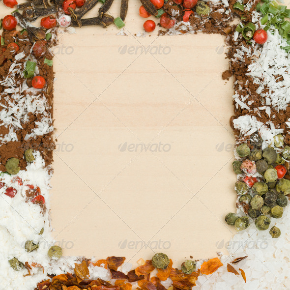mixed spices on wood - Stock Photo - Images