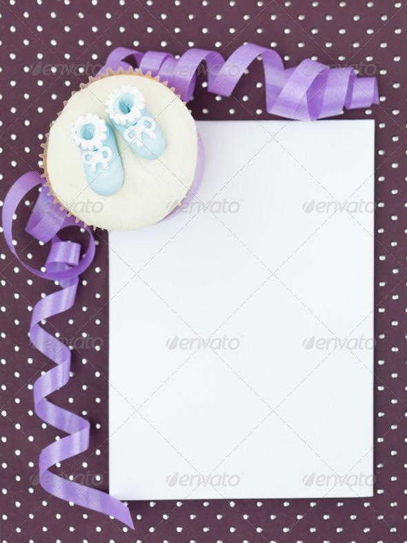 muffin newborn invitation - Stock Photo - Images