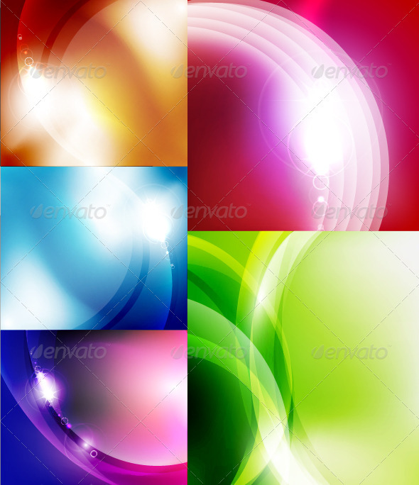 Vector Shiny Glossy Waves Backgrounds - Backgrounds Decorative