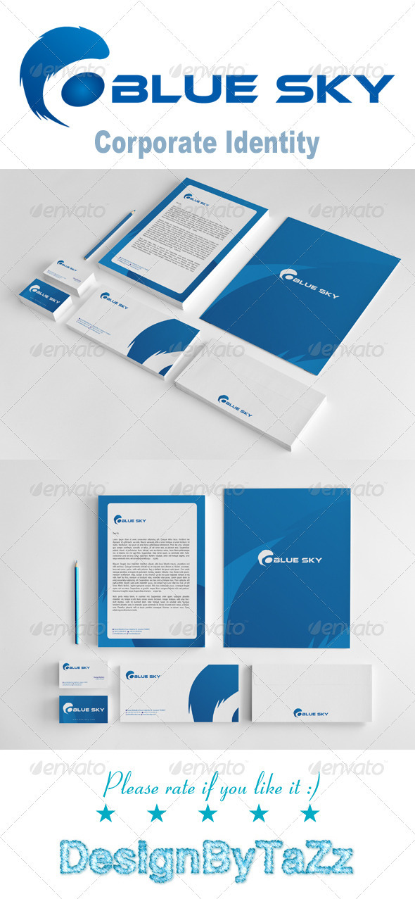 Blue Sky Corporate Identity Package - Stationery Print Templates