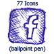 77 Icons (Ballpoint Pen) - GraphicRiver Item for Sale