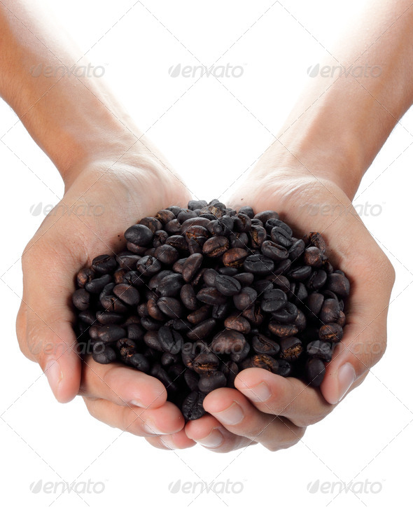black coffee beans - Stock Photo - Images
